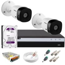 Kit 2 Câmeras de Segurança Full HD 1080p VHL 1220 B + DVR 3104 Intelbras com HD 1TB + Acessórios -