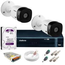 Kit 2 Câmeras de Segurança HD 720p VHL 1120 B + DVR 1104 Intelbras com HD 1TB + Acessórios -