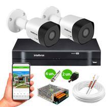 Kit 2 Câmeras de Segurança Intelbras VHD 3130 B G6 HD 720p Metal + Dvr MHDX 1104 4 Canais Intelbras -