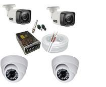 Kit 2 Câmeras Dome interna e 2 Câmeras Bullet externa Infra vermelho Hd  c/ Acessórios - Citrox