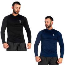 Kit 2 Camisetas Térmica Selten Masculina Proteção UV Longa -