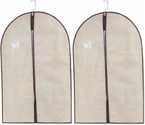 Kit 2 Capa Protetora Tnt Roupa Terno Vestido Zíper Closet 60cm x 100cm Cor: Creme - Unica