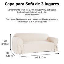 Kit 2 Capas para Sofá 3 e 4 Lugares em Gorgurão Cor Grafite Resistente Protetor Leve Cachorro Pet Sala - Mistero