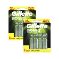Kit 2 Carga Gillette Mach3 Sensitive 16 unidades -