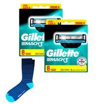 Kit 2 Cargas Gillette Mach3 Leve 8 Pague 6 + Meia Lupo Listrada Adulto -