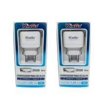 Kit 2 Carregadores USB V8 Kingo 1.2A 5V p/ Galaxy J6 Plus -