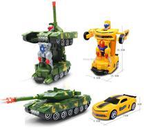 Kit 2 Carro Robo Deform Tanque de Guerra + Camaro Bumblebee C/Luz e Som - Yijun