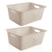 Kit 2 Cestos Caixas Organizador Grande Lavanderia Closet Roupas - Ou -