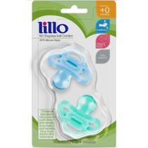Kit 2 Chupetas Soft Confort Silicone Lillo AZUL 0m -
