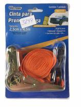 Kit 2 cinta fita para prender carga 2,5cm x 4,5 metros catraca e gancho - WESTERN