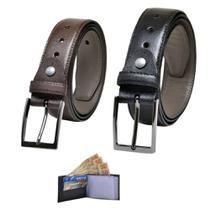 Kit 2 Cintos e Carteira Masculino Couro - Carmelo Shoes