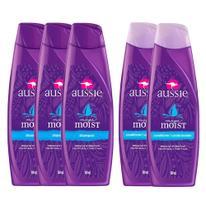 kit 2 Condicionadores Aussie Moist 180ml + 3 Shampoos Aussie Moist 180ml -
