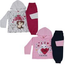 Kit 2 Conjunto Infantil Feminino Roupa De Moletom Inverno - colbacho
