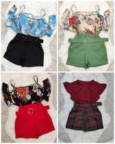 Kit 2 Conjuntos Plus Size Feminino Blusa e Short Lisos ou Estampados Tamanho G GG ou EGG - Bellucy Modas