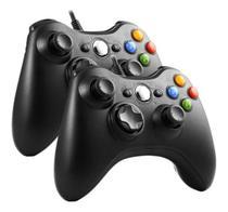 Kit 2 Controle Compatível Xbox 360 Pc Com Fio Game - Feir/Knup