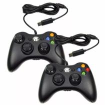 Kit 2 Controles Com Fio 2M Para Xbox 360 e PC - Controller 360