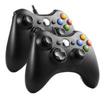 Kit 2 Controles Manete Compatível Xbox 360 Slim Pc Com fio - Feir/Knup