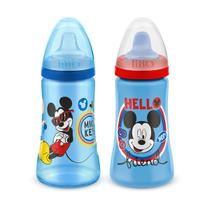 Kit 2 Copos Colors Bico De Silicone Disney Mickey Azul Lillo -