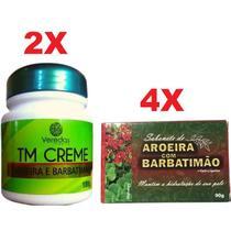 Kit 2 Creme Seca Espinhas Acne Manchas + 4 Sabonete Barbatimão e Aroeira - Bionature