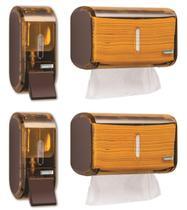 Kit 2 Dispenser Papel Toalha + 2 Saboneteira Premisse Urban Compacta Marrom -