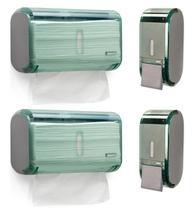 Kit 2 Dispenser Papel Toalha + 2 Saboneteira Premisse Urban Compacta Verde -