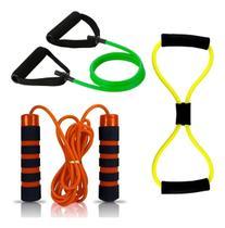 Kit 2 Elasticos Extensores Multifuncional Exercicio e Corda de pular com rolamento - Mb Fit