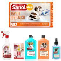 Kit 2 em 1 especial para cães: Tapete higiênico, Stop Dog, Pipi Pode, Shampoo Filhote, Condicionador Neutro e Perfume Baby Sanol -