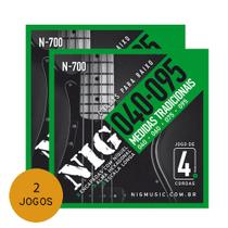 Kit 2 Encordoamento Para Contra Baixo 4 Cordas 040 Nig N700 - Nig strings