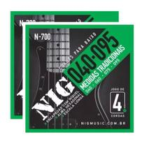 Kit 2 Encordoamento Para Contra Baixo 4 Cordas 040 Nig N700 -