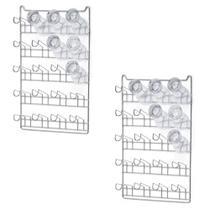 Kit 2 Escorredor de Copos para Fixar de Parede Para Até 20 Copos Aço Cromado Arthi 1113 - Arthi comercial ltda