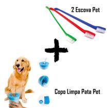 KIT 2 Escovas de Dente Pet Cabo Longo 22 cm + Copo Limpador de Pata Pet Cachorro e Gato - Ss - Briwax