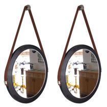 Kit 2 espelhos adnet redondo banheiro para quarto de parede retro novo com alça 28 cm preto e marrom - Houseria