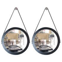 Kit 2 espelhos adnet redondo com alça de couro banheiro para quarto de parede retro novo 28 cm preto - Houseria