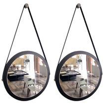 Kit 2 espelhos adnet redondo com alça de couro banheiro para quarto de parede retro novo 38 cm preto - Houseria