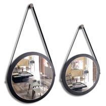 Kit 2 espelhos adnet redondo com alça de couro decorativo banheiro para quarto novo 38 e 28 cm preto - Houseria