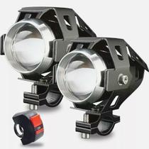 Kit 2 Farol Milha Universal Led Cree U5 Auxiliar Moto interruptor KGT822 - Lorben -