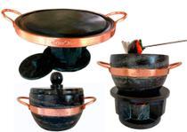 Kit 2 Fondue De Pedra Sabão 31 cm Para Assar Carne +1,5 L Para Queijo Ou Chocolate+Panela De 1,5L - Bras Art