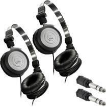 Kit 2 Fones de Ouvido Profissional AKG K414P Dobrável Para Retorno de Palco + Adaptadores P2 Fêmea x P10 Macho Estéreo -