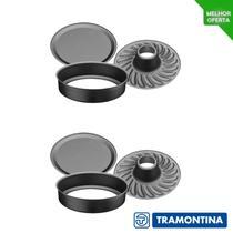 Kit 2 Forma de Bolo Tramontina Redonda Fundo Removível Antiaderente -