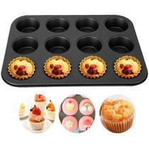 Kit 2 Formas Para 12 Cupcakes Aço C/Silicone 35X26X2,5CM - Wellmix