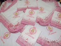 Kit 2 fralda de Ombro+ 4 Fralda de boca+ 1 cueiro + 1 Manta  bordada para bebê - Lorenababy