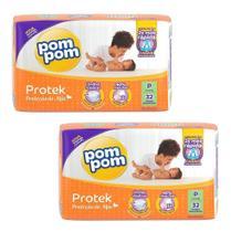 Kit 2 Fraldas Pom Pom Proteção De Mãe Tamanho P C/ 64 Tiras Tamanho:Pequeno (P)Gênero:Sem gênero -