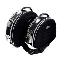 Kit 2 frasqueiras maleta necessarie para viagem maquiagem cosméticos com senha ziper lateral e frontal preto kangur -