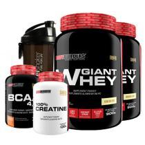 Kit 2 Giant Whey 900g Baunilha + bcaa 4,5 100g + creatina 100g + coqueteleira Fuel Shaker  Bodybuilders -