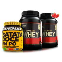 Kit 2 gold standard 100 whey ( 2 lb) (double rich chocolate) + batata doce 800g sanomax - Optimum nutrition