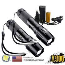 Kit 2 Lanternas Tatica Militar X900 Recarregavel Police -