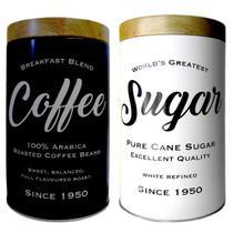 Kit 2 Latas Metal Expresso Round Coffee Sugar 13x10cm Urban -