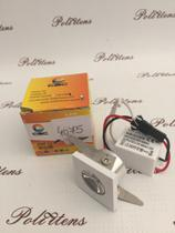 Kit 2 Luminária Embutir Spot 1W  Inclinável Branco Quente Quadrado - Cbc