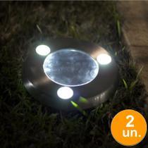 Kit 2 Luminária Solar jardim 3 led branco balizador inox decks piscina gramado prova de água - Ecoforce