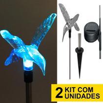 Kit 2 Luminária Solar jardim led branco beija flor 75 cm balizador inox chão prova de água - Ecoforce